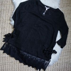 LC Sweater Tunic with Lace Side Tie Size L